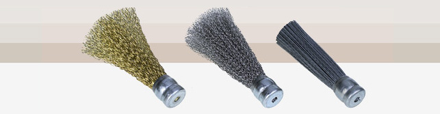 Brushes for deburring machines end without shank